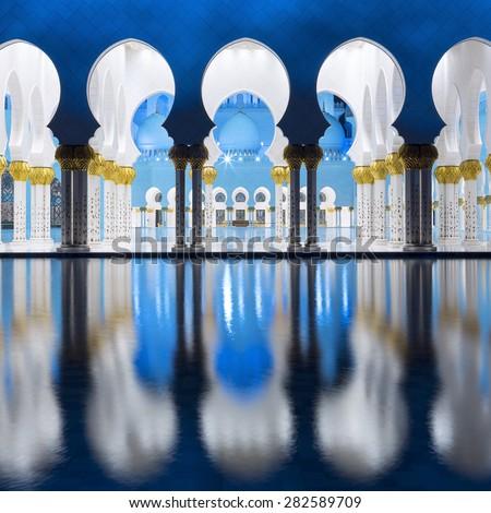ABU DHABI, UAE -29 NOVEMBER 2014: Sheikh Zayed Grand Mosque in Abu Dhabi, United Arab Emirates. Grand Mosque in Abu Dhabi is the largest mosque in United Arab Emirates for more than 40,000 prayers. - stock photo