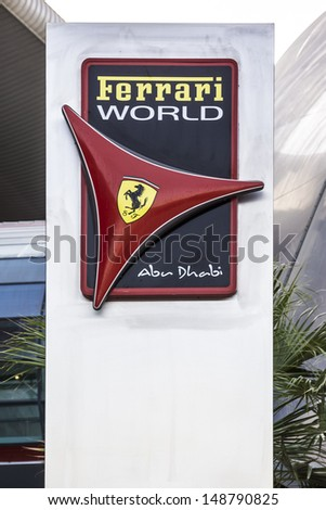 ABU DHABI, UAE - OCT 1: The exterior of Ferrari World at Yas Island in Abu Dubai in the UAE on October 1, 2012. Ferrari World - the largest indoor amusement park in the world. - stock photo