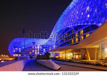 ABU DHABI, UAE - OCT 17: The Yas Hotel - the iconic symbol of Abu Dhabi's Grand Prix on Oct 17, 2009 in Abu Dhabi, UAE. It is the first new hotel in the world to be built over an F1 race circuit