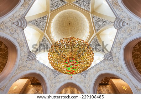 ABU DHABI, UAE, October 4, 2014: Sheikh Zayed Grand Mosque Interior, Abu Dhabi, UAE - stock photo
