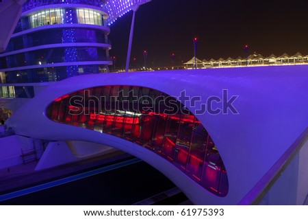 ABU DHABI, UAE - SEPT 22 : The Yas Marina  Grand Prix Circuit Hotel taken on September 22nd 2010 in Abu Dhabi. Next Formula One Race November 14th - stock photo