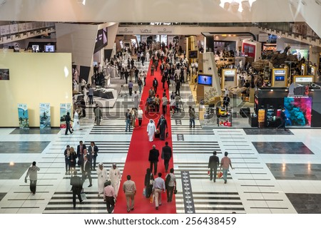 ABU DHABI, UNITED ARAB EMIRATES - Feb 24, 2015: The International Defence Exhibition and Conference, IDEX, is the most strategically important tri-service defence exhibition in the world. - stock photo