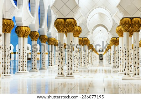 ABU DHABI, UNITED ARAB EMIRATES - NOVEMBER 30: Sheikh Zayed Grand Mosque November 30, 2014 in Abu Dhabi, United Arab Emirates. The famous Sheikh Zayed mosque is the largest mosque in UAE  - stock photo