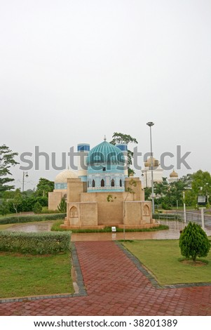 Abu Nasr, Balkh, Afghanistan the green mosque names for its tiled dome - stock photo