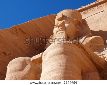 Abu Simbel, Egypt. Ancient Egyptian Pharaoh Rameses the 2nd - stock photo