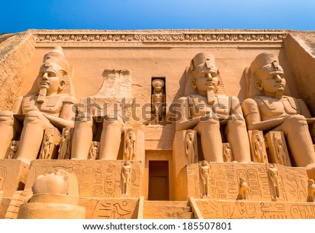 abu simbel egypt as ancient Egypt's Cathedral is made up of two large stone blocks. There is a statue of the pharaoh four. - stock photo
