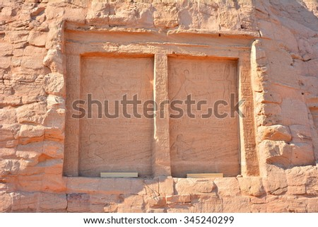 ABU SIMBEL, EGYPT - 16 NOVEMBER 2015 : The temple of Abu Simbel. One of the most famous destination in Egypt built by King Ramesses II. The temple was moved up to the hill because the flooding