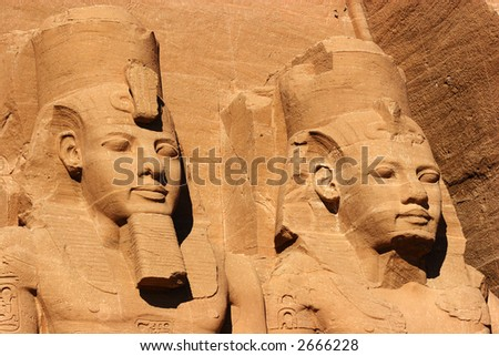 Abu Simbel faces, Egypt, Africa - stock photo