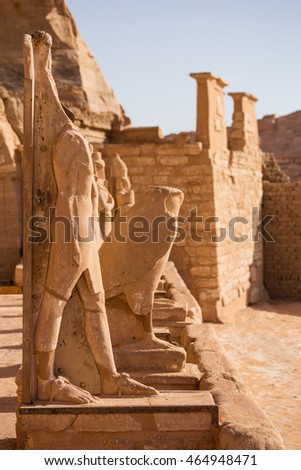 Abu Simbel falcon. Falcons sculpture near the entrance to the temple complex of Abu Simbel, Egypt