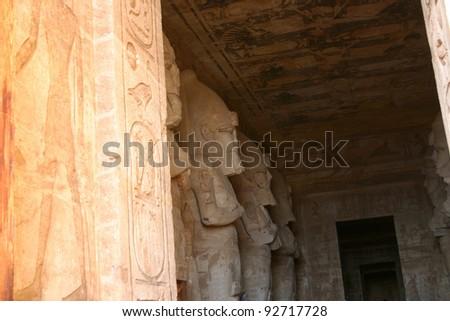 Abu Simbel;  Peeking into the Temple of Ramses II - stock photo