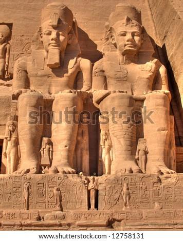 Abu Simbel statue of Ramses - stock photo