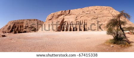 Abu Simbel Temple of King Ramses II, and temple of queen Nefertari - stock photo