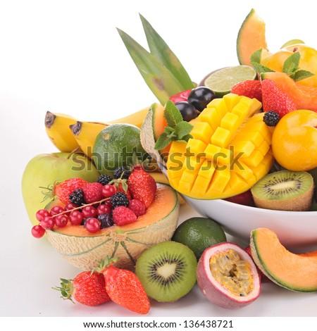 abundance of fruits - stock photo