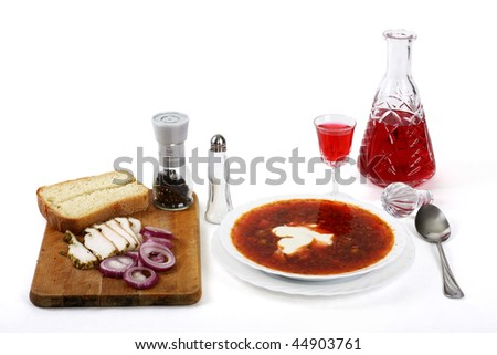 Abundance of products in traditional slavic kitchen - stock photo