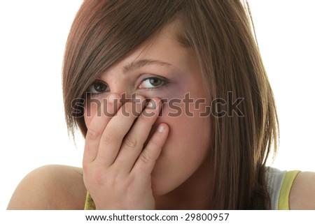 Abused victim isolated on white background - stock photo