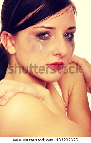Abused young woman - stock photo