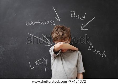 Abusive words hurt - stock photo