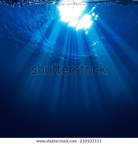 Abyss, abstract underwater backgrounds with sun beam - stock photo