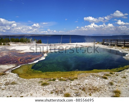 Abyss Pool at West Thumb Geyser Basin, Yellowstone National Park, Wyoming - stock photo