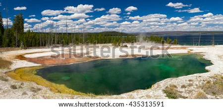Abyss Pool at West Thumb Geyser Basin, Yellowstone National Park, Wyoming, USA - stock photo
