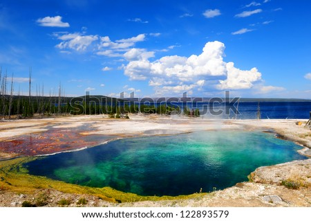 Abyss pool, Yellowstone NP - stock photo