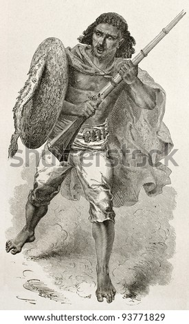 Abyssinian warrior old engraved portrait. Created by Bayard after Lejean, published on Le Tour du Monde, Paris, 1867 - stock photo