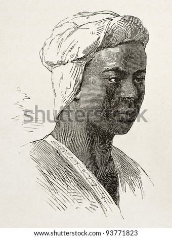 Abyssinian young man old engraved portrait. Created by Bayard after Lejean, published on Le Tour du Monde, Paris, 1867 - stock photo