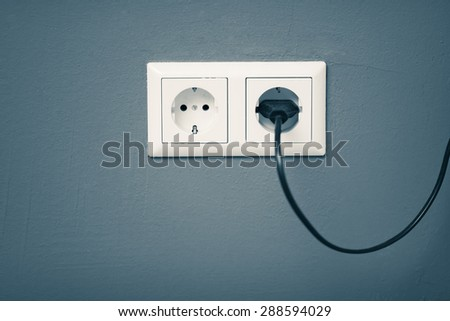 AC power plug and socket - stock photo