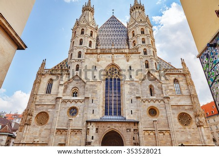 acade of St. Stephen's Cathedral (more commonly known by its German title: Stephansdom) is the mother church of the Roman Catholic Archdiocese of Vienna. Austria. - stock photo