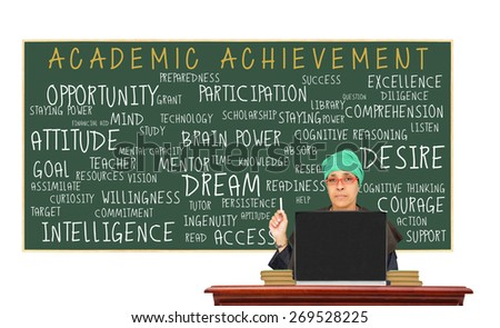 Academic Achievement Blackboard (opportunity, help, mentor, desire, attitude, dream, determination, preparedness, support) Teacher at desk with laptop classroom isolated on white background - stock photo