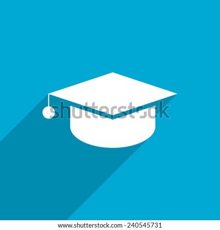 academic cap web flat icon illustration. - stock photo