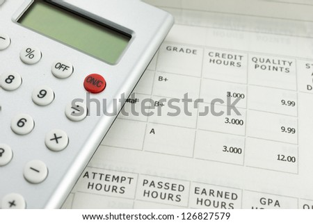 academic grade with calculator - stock photo