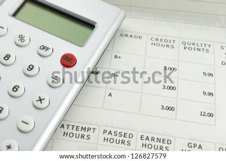 academic grade with calculator - stock photo
