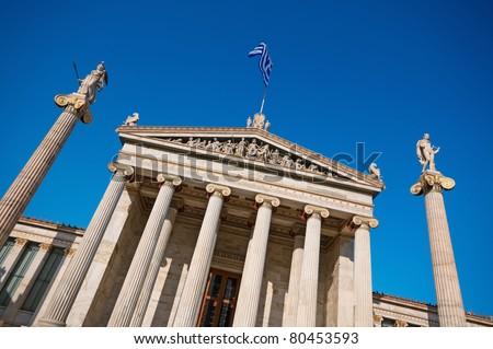 Academy of Athens  On the columns are goddess Athena and Apollo. - stock photo