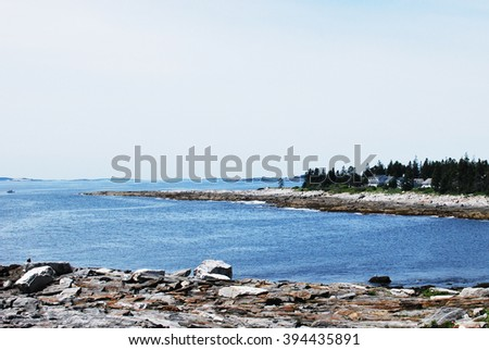 Acadia National Park at the coast of Maine with the Atlantic ocean - stock photo