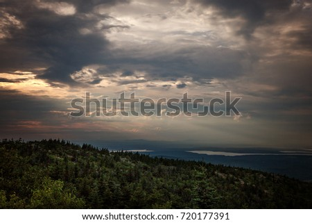 Acadia National Park Maine, view from Cadillac mountain at sunset
