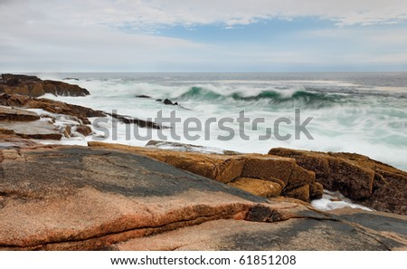 Acadia National Park, Otter point shoreline - stock photo