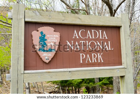 Acadia National Park sign in Maine - stock photo