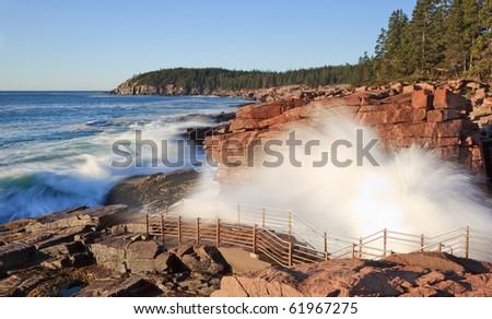 Acadia national park, thunder hole - stock photo