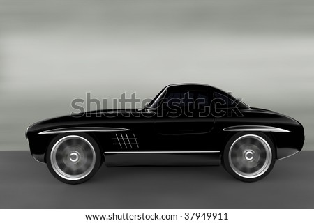 Acceleration - Black Classic car - stock photo