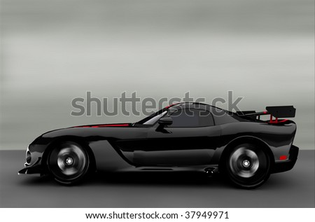 Acceleration - Black Sportscar / Sports car - stock photo