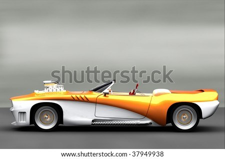 Acceleration - Classic Retro Muscle Car - stock photo