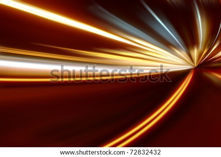 acceleration of the motion on the night road - stock photo