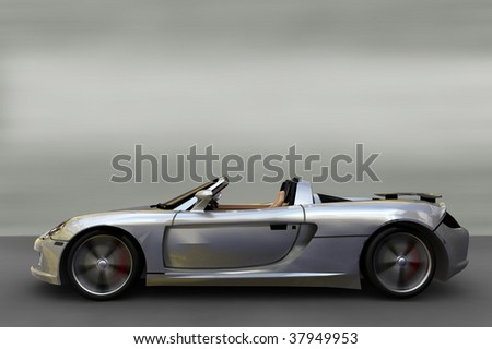Acceleration - Silver convertible Sportscar / Sports car - stock photo