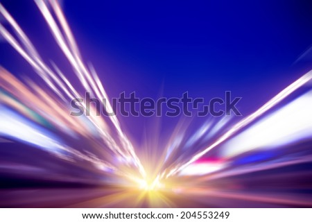 acceleration speed motion on night road - stock photo