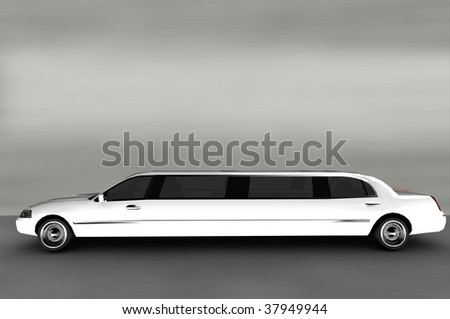 Acceleration - White Luxury Limo - stock photo