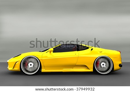 Acceleration - Yellow Sports Car / Sportscar - stock photo