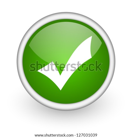 accept green circle glossy web icon on white background - stock photo
