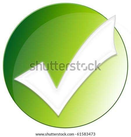 Accept Icon - green color - stock photo