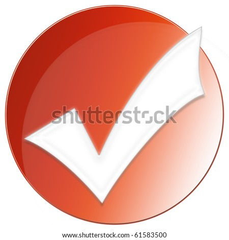 Accept Icon - red color - stock photo
